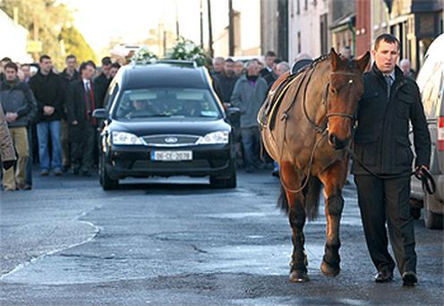Patricia Lynch's pony leading the funeral procession in Co Clare yesterday