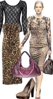Animal print dress, €40.38, Yoursclothing.co.uk; Black lace body suit, €20, River Island, www.riverisland.com; Purple leather slouch bag, €205, by Kenneth from House of Fraser; Shoes, €85, Dune