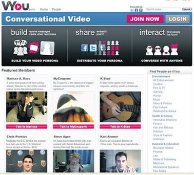 VYou.com features lots of video personas - including star athletes and internet celebs - that you can chat to about a whole range of topics