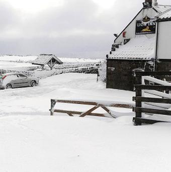 The Lion Inn on Blakey Ridge between Hutton le Hole and Castleton in North Yorkshire, where seven people have been trapped due to the snow