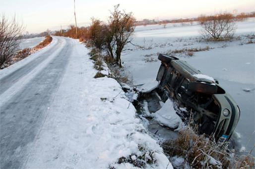 A car came off the road in icy conditions on the Clonown road outside Athlone