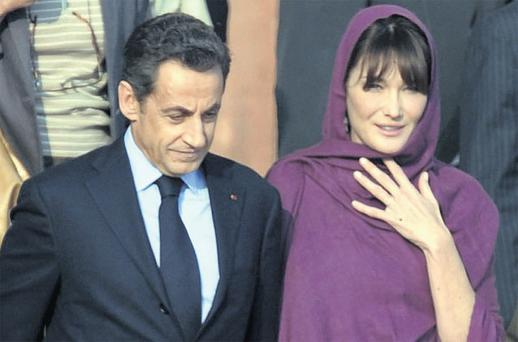 French President Nicolas Sarkozy and First Lady Carla Bruni-Sarkozy on their state visit to India.