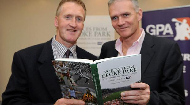 Tony Keady and Vincent Hogan at the launch of 'Voices from Croke Park'.