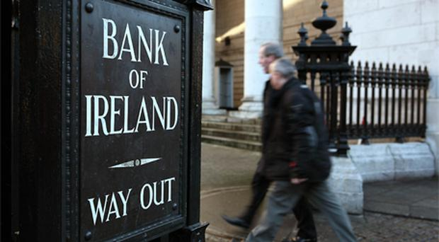 Bank of Ireland rose as much as 7.5pc to €34.50 and was up 5.9pc as of 9:09am. Photo: Bloomberg News