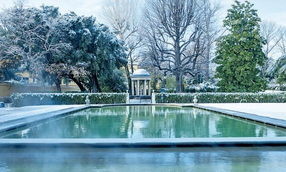 The hotel's garden in winter