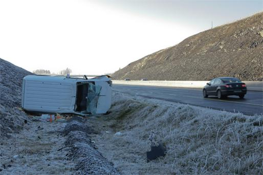 A van on its side after crashing on the M7 near Birdhill, Co Tipperary