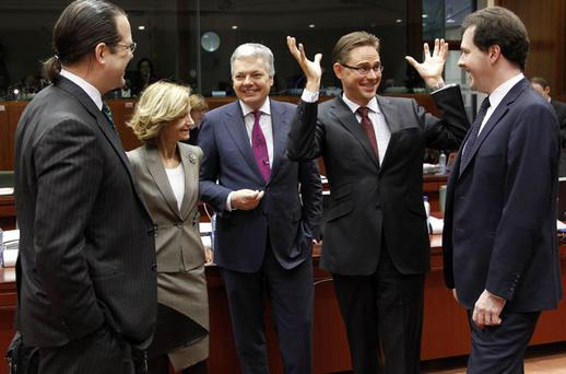 Finance ministers, Sweden's Anders Borg, Spain's Elena Salgado, Belgium's Didier Reynders, Finland's Jyrki Katainen and Britain's George Osborne at the European Union finance ministers meeting at the European Union Council in Brussels yesterday. Photo: Thierry Roge / Reuters