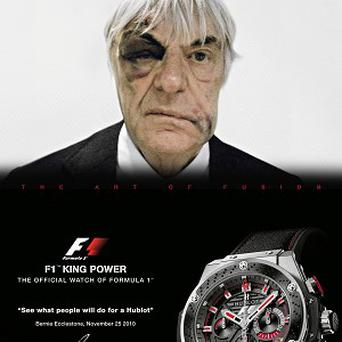 The battered face of Bernie Ecclestone is the centre-piece of an ad for a watch