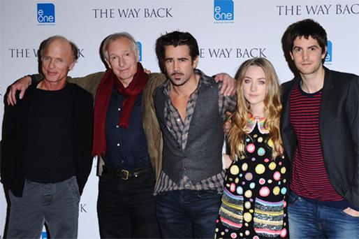 Ed Harris, director Peter Weir, Colin Farrell, Saoirse Ronan and Jim Sturgess during a photocall for new film 'The Way Back' in London yesterday