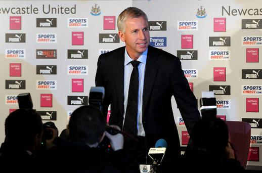 New Newcastle United manager Alan Pardew arrives at yesterday's press conference at St James' Park. Photo: PA