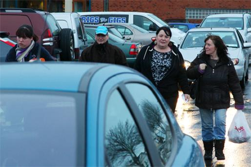 Mary Byrne with her daughter Debbie (left) and some friends at Aylesbury Shopping Centre, Tallaght yesterday