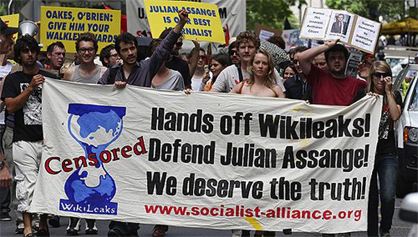 Hundreds of protestors march through Brisbane city centre to protest against the detention of WikiLeaks founder, Australian, Julian Assange. Photo: AP