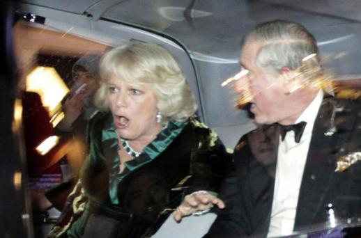 ROYAL SHOCKER: Charles and Camilla reacted with horror as their limousine drove past a mob of protesting students. Photo: AP
