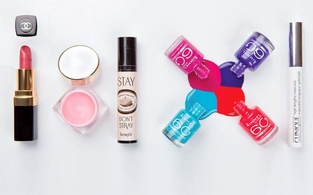 Pictured, from left: Chanel Rouge Coco in Mademoiselle; Clarins Instant Blush; Benefit Stay Don't Stray; Rimmel 60 Seconds Nail Polish; Clinique High Lengths Mascara