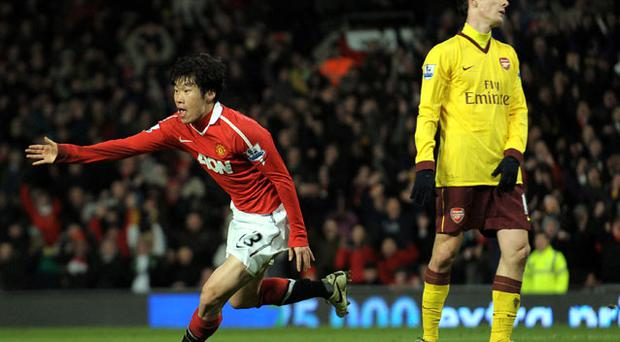 Manchester United's Park Ji-Sung celebrates scoring against Arsenal during their Premier League clash at Old Trafford last night - United won 1-0. Photo: Getty Images