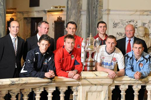At the launch of the 2011 Setanta Sports Cup were, front row, from left to right, Jordan Forsyth, Lisburn Distillery, Peter Thompson, Linfield, Peter Cherrie, Dundalk and James O'Brien, St Patricks Athletic, and back row, from left to right, Packie Lynch, General manager Sligo Rovers, Michael O'Neill, Manager Shamrock Rovers, Michael Halliday, Crusaders, Chris Ramsey, Portadown, and Ronnie McFall, Manager Portadown FC at Belfast City Hall yesterday.
