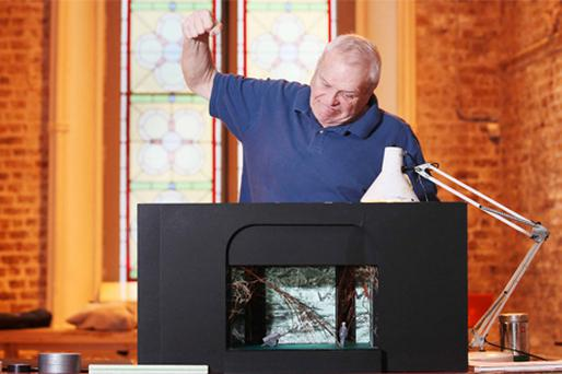 US actor Brian Dennehy hams it up with a scale model of the stage at Smock Alley Theatre, Temple Bar, Dublin