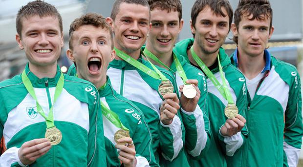 Members of Ireland Men's U23 gold medal winning team, from left, David Rooney, Brendan O'Neill, David McCarthy, Michael Mulhare, John Coughlan and Ciaran O Lionaird, on their return from the European Cross Country Championships in Portugal over the weekend.