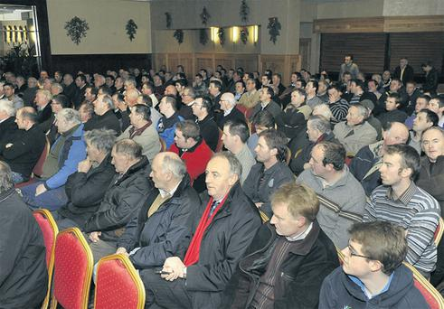 A section of the crowd give their full attention to the speakers at 'The Future for Sugar and Ethanol Production in Ireland' meeting in Mallow, Co Cork