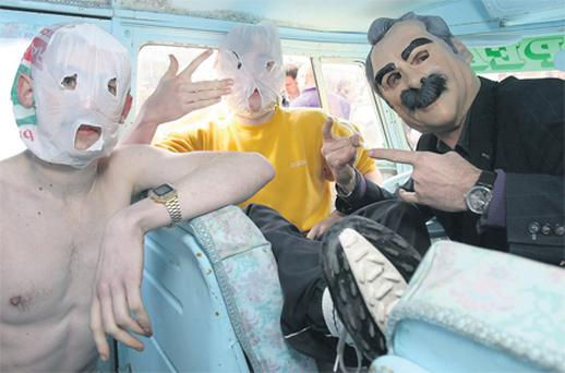 Limerick rap group The Rubberbandits taking part in a photocall at the POD night club in Dublin. Photo: PA
