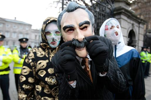 Rubberbandits at the Dail yesterday to announce their war on 'The X Factor' for the Christmas number one spot with their song 'Horse Outside'