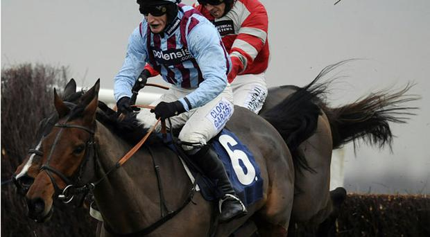 Paddy Brennan and Tartak about to pounce on Breedsbreeze (6) over the last fence on the way to victory in yesterday's Peterborough Chase at Newbury. Photo: Getty Images