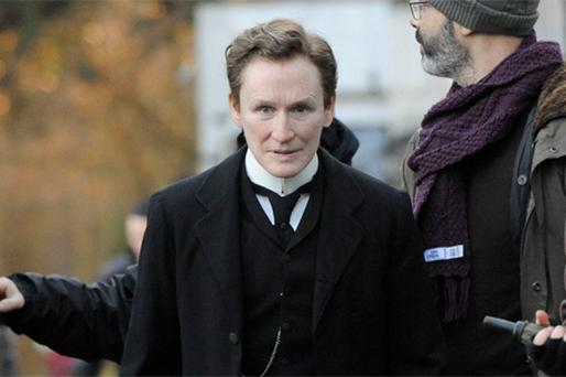 Glenn Close dressed as a man on the set of 'The Singular Life of Albert Nobbs' in Dublin yesterday