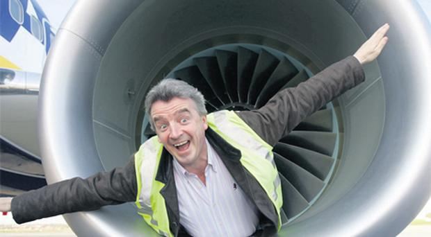 Michael O'Leary is synonymous with photo opportunities such as reclining in an aircraft engine