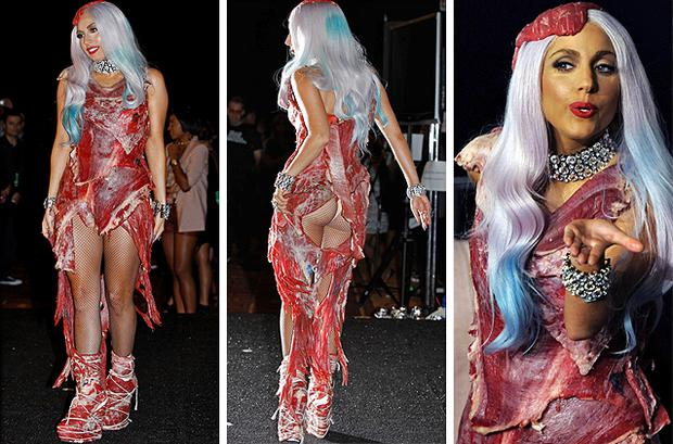 Lady Gaga wearing a controversial meat dress at the 2010 MTV Awards in Los Angeles. Photo: AP
