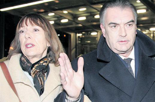 Ian Bailey and partner Jules Thomas leave the Criminal Courts of Justice in Dublin yesterday