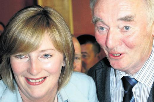 Beverley Flynn, pictured with her father Padraig, has become the latest high-profile member of Fianna Fail to announce that she is quitting politics