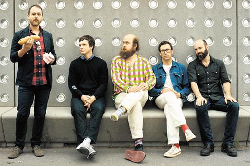 BEGUILING: Les Savy Fav, with frontman Tim Harrington centre