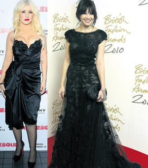 From left Christina Aguilera and Daisy Lowe