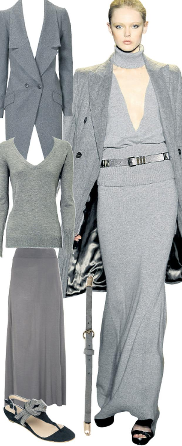 'Tokyo' car coat, €119, Oasis, www.oasis-stores.co.uk; V-neck sweater, €37, Oasis ;Jersey maxi skirt, currently reduced to €13, Warehouse, www.warehouse.co.uk; Skinny belt, €25, Oasis, www.oasis-stores.co.uk; Sandals, €75, Monsoon