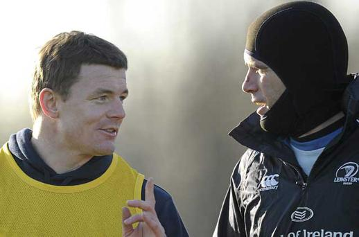 14 December 2010; Leinster's Brian O'Driscoll and Shane Jennings, right, during squad training ahead of their Heineken Cup, Pool 2, Round 4, game against ASM Clermont Auvergne on Saturday. Leinster Rugby media briefing and squad training, Thornfields, UCD, Belfield, Dublin. Picture credit: Paul Mohan / SPORTSFILE