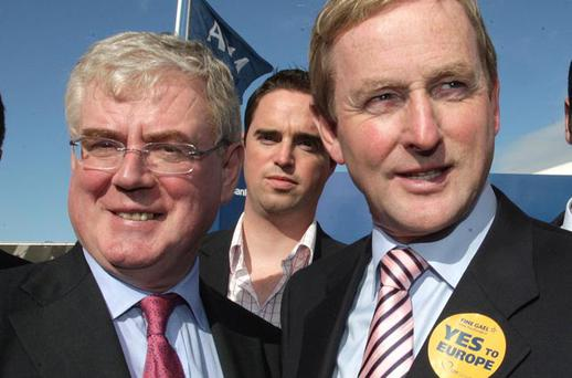 Labours Eamon Gilmore and Fine Gaels Enda Kenny pictured during their visit to the National Ploughing Championships in Cardenton near Athy yesterday.Pic Frank Mc Grath