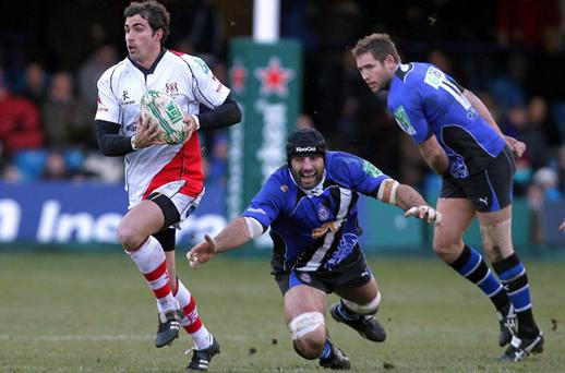 Ulster's Ruan Pienaar gets past Danny Grewcock at the Recreation Ground, Bath. Photo: Matthew Impey / Sportsfile