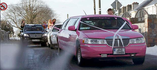 Travellers celebrate a wedding at the weekend in Rathkeale, Co Limerick, which featured a pink stretch limo