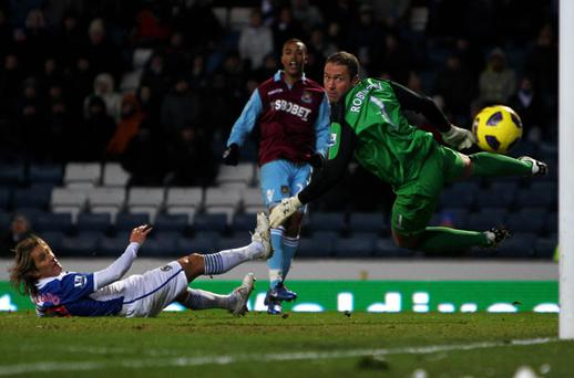Blackburn goalkeeper Paul Robinson can only look back helplessly as Junior Stanislas equalises for West Ham at Ewood Park on Saturday. Photo: Getty Images