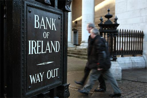 Shares in Bank of Ireland were down 1.3pc at 31.5c. Photo: Getty Images