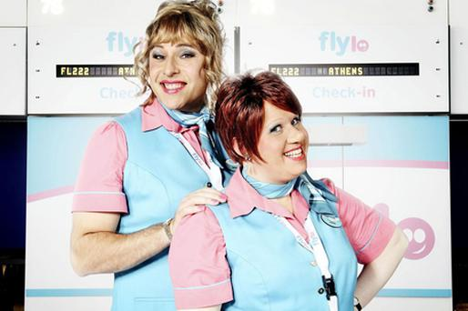 David Walliams as Melody and Matt Lucas as Keeley from the new BBC comedy Come Fly With Me. Photo: PA