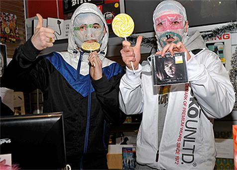 Diamond geezers: the Rubberbandits at Tower Records on Wicklow Street, Dublin, where they were signing CDs yesterday