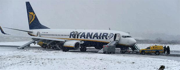 Ryanair flight FR701 from London Stansted on the runway at Kerry Airport yesterday