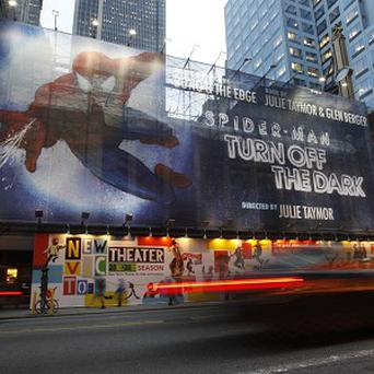 An American actor would have liked a real web to break his fall during a production of Spider-Man on Broadway (AP)