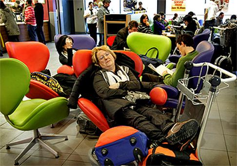 Taking a nap in Terminal 1
