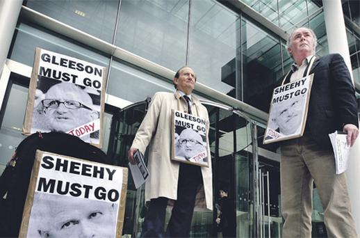 Protestors vent their anger at the collapse of the share price outside the AIB agm in 2009