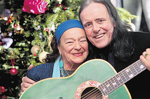 GUITAR HEROES: Donovan and mother-in-law Violetta, with whom he recorded a single for Barnardos
