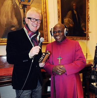 DJ Chris Evans broadcast his Radio 2 show from the Archbishop's palace in York