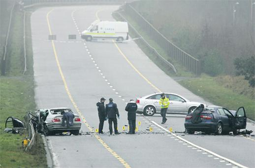 The scene of the horrific traffic accident on the N2 outside Carrickmacross, Co Monaghan, resulting in the death of three people and an unborn child on Monday night