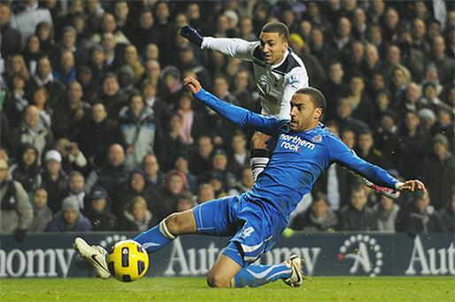 Aaron Lennon fires Tottenham into the lead despite James Perch's efforts